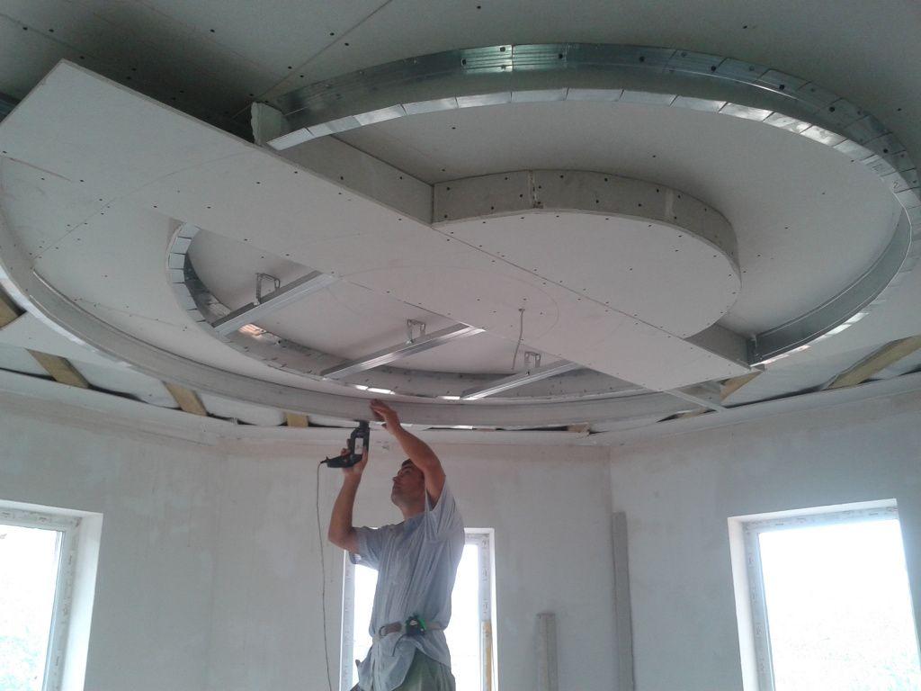 Каркасные потолки из гипсокартона фото